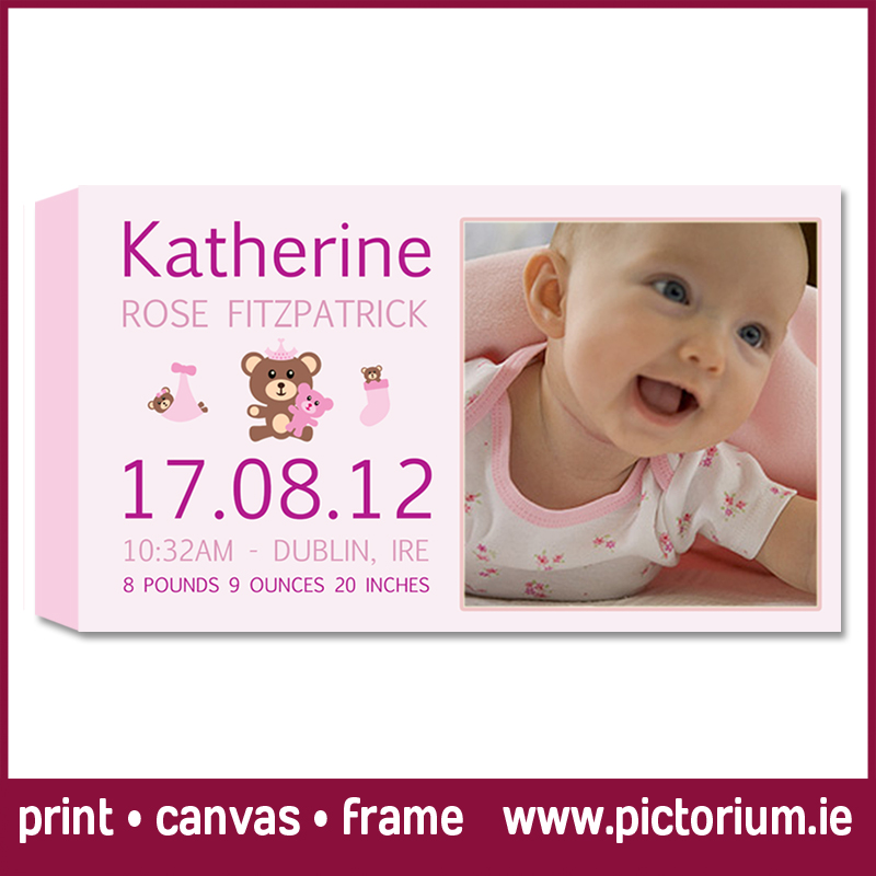 Baby girls birth date scroll the pictorium dublin photo printing baby born range of scrolls baby girl birth with photo birth scrolls on canvas or negle