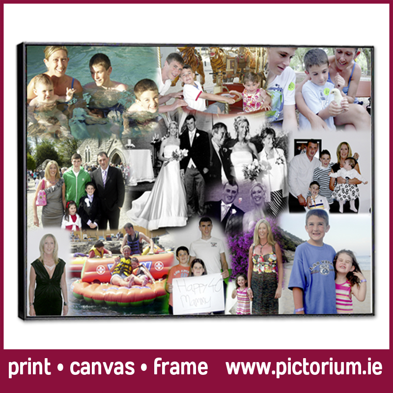 40th BIRTHDAY PHOTO COLLAGE Blend Collage Print Canvas Framed Pictorium Photoshop Monkstown Dublin We