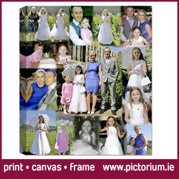 1st HOLY COMMUNION/ PHOTO COLLAGE Edited Photo in a Blend Collage. Print, Canvas Framed. Pictorium Photoshop Monkstown Dublin We Design and Print Personalised Photo Collages. Unique designs. Canvas, Printed, Framed, Block Float, Frame. Delivered all around Ireland. Communion Confirmation Bedroom Wall Art