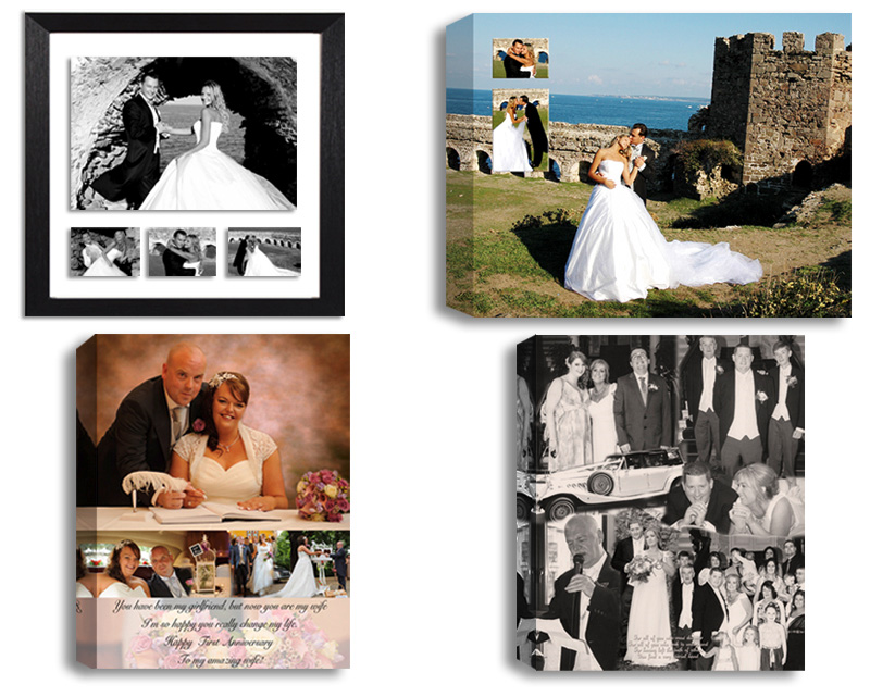 Wedding Anniversary Engagement Photos And Photo Collages Designed And  Printed On Canvas, Framed, Float
