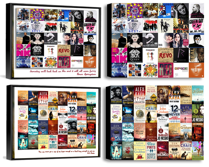 iTunes Photo Collage on Canvas. Personalised iTune Album Cover Collages and Book Cover Collages designed and printed. Pictorium Photoshop Monkstown Dublin. Print Canvas Frame Float Frame Block. Birthday Engagement Anniversary Wedding Christmas Mothers Day Fathers Days Gifts