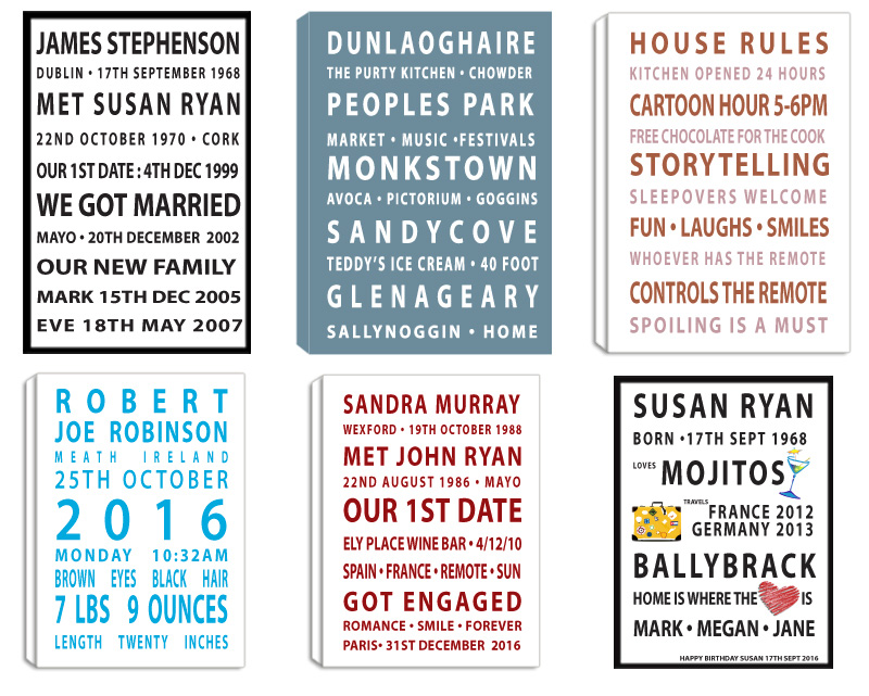 Personalised Life Scrolls. Custom peronsalised Scrolls designed and printed. Amazing customer reviews. Print Canvas Frame Block Float Frame at Pictorium Photoshop Monkstown Your full service Photo Shop. They make the most wonderful gifts for every occasion: Birthday, Engagement, Wedding, New Baby, Anniversary. Why not create a special one for your home, they make a great talking point.