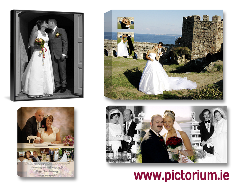 Wedding Anniversary Engagement photos and Photo Collages designed and printed on Canvas, Framed, Float Frame, Block. Digital Alterations Editing and Retouching Photo Printing Pictorium Photoshop Monkstown Dublin Photo Gift Ideas