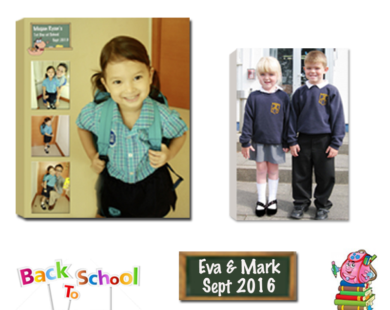 Junior Infants, Back to School. We Design and Print Personalised Photo Collages. Canvas Print Frame Ready Made and Custom Made Float Frame Pictorium Photoshop Monkstown Dublin Ireland