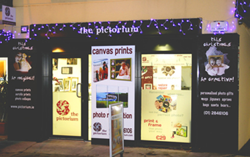 Pictorium Photoshop, Monkstown Dublin. Full Service Photo Shop. Photo Restoration, Editing and Retouching. We Design and Print Photo Collages. Scan Photos, Slides, Negatives, Photo Albums. We print over 50 sizes of Canvas. Print large and small photos. Frames both readymade and bespoke/custom made photos