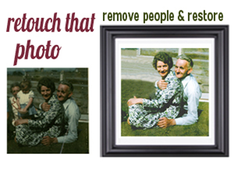 DUBLIN PHOTO EDITING RETOUCHING SERVICES Remove person from photo and restore. The Pictorium Photo Restoration Editing Digital Manipulation & Touch up of photos, Remove Add People & Objects, Change backgrounds, Torn Damaged Faded Creased Water Damaged Photos Professionally restored and Printed onto Paper, Canvas & Framed in one of our many Photo Frames. We work with customers Nationwide2