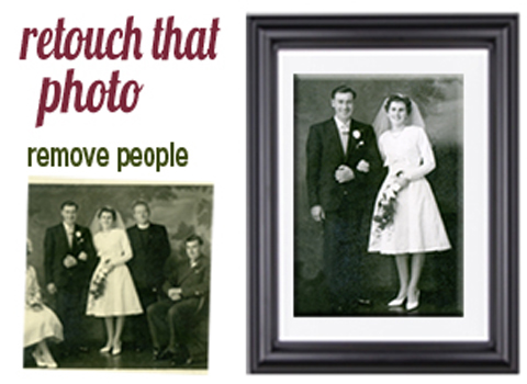 BLOG PHOTO EDITING RETOUCHING SERVICES Wedding photo. We removed two people from the photo and then restored the photo. Printed and Framed.. Remove person from photo. The Pictorium Photo Restoration Editing Digital Manipulation & Touch up of photos, Remove Add People & Objects, Change backgrounds, Torn Damaged Faded Creased Water Damaged Photos Professionally restored and Printed onto Paper, Canvas, & Framed in one of our many Photo Frames. We work with customers Nationwide