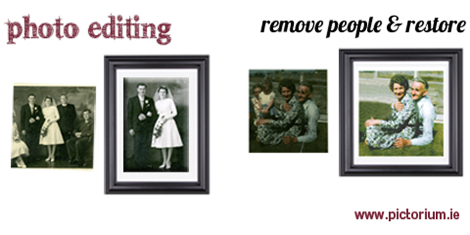 BLOG DUBLIN PHOTO EDITING RETOUCHING SERVICES Wedding photo. We removed two people from the photo and then restored the photo. Printed and Framed.. Remove person from photo. The Pictorium Photo Restoration Editing Digital Manipulation & Touch up of photos, Remove Add People & Objects, Change backgrounds, Torn Damaged Faded Creased Water Damaged Photos Professionally restored and Printed onto Paper, Canvas, & Framed in one of our many Photo Frames. We work with customers Nationwide