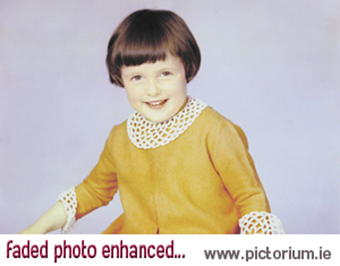 PHOTO RESTORATION Faded and discoloured photo. Restore, Retouch & Edit your photographs / photos by the experts at Pictorium Photoshop Monkstown Dublin Ireland. We work with customers Nationwide. Repair/Clean photos, Repair/Fix tears, cracks, creases & scratches, Remove stains, smudges, water damage, discolouration, Restore faded or dark photos, Piece together & restore ripped and torn photos. Restore & print your photos wonderful as a present / gift or fill your home with everlasting memories. Order By Phone (01) 284 6106 • Via Email info@pictorium.ie • or Call into our Shop.